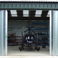 Aircraft hangar doors - ideal for secure storage of helicopters