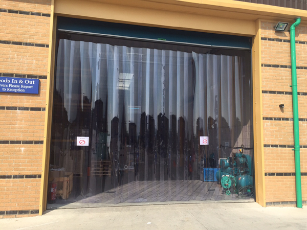 PVC Curtain behind sectional door